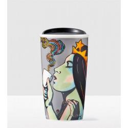 Starbucks Siren 2016  25th Anniversary Double Wall Traveler Ceramic Tumbler 12 Fl Oz