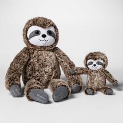 Cloud Island Brown Sloth Plush with Baby Sloth