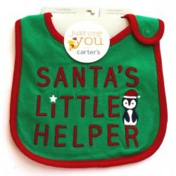 Carter's Just One You Christmas Green Santa's Little Helper Bibs