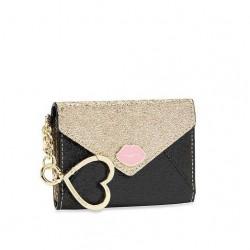Victoria's Secret Lipstick Muse Envelope Black Gold Card Case Keychain