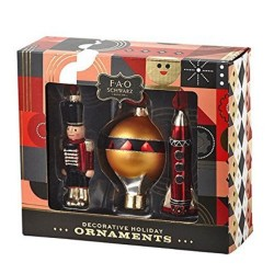 FAO Schwarz Decorative Holiday Christmas Ornaments Nutcracker Hot Air Balloon Rocket Set