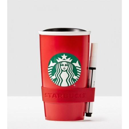 Starbucks Create Your Own Writable Red Traveler Ceramic Tumbler 12 Fl Oz