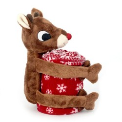 Rudolph The Red Nosed Reindeer Christmas Rudolph Plush with Fleece Throw Blanket