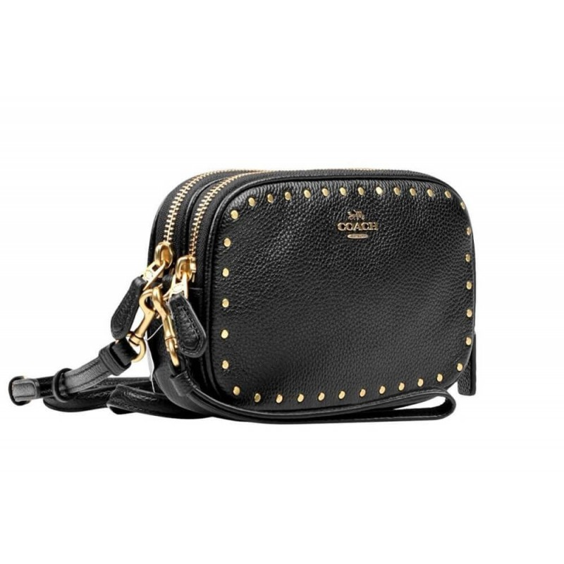 Coach Crossbody Black Leather Clutch with Border Rivets