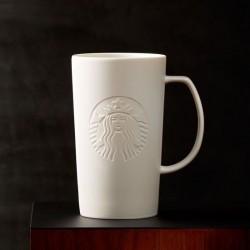 Starbucks 2015 Matte White Grande Siren Logo Classic Ceramic Mug 16 Fl Oz