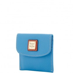 Dooney & Bourke Pebble Grain Azure Blue Credit Card Flap Wallet