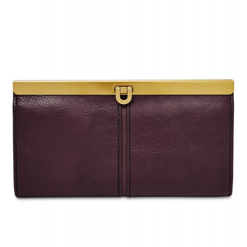 Fossil Fig Kayla Frame Leather Clutch Wallet