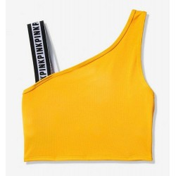 Victoria's Secret PINK One Shoulder Strappy Yellow Sports Bra Size M