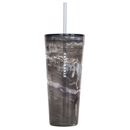 Starbucks Double Wall Marble Glass Cold Travel Cup Tumbler 20 Fl Oz