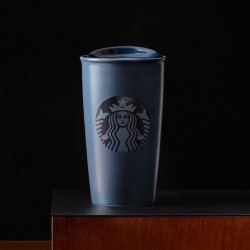 Starbucks 2015 Navy Blue Ceramic Double Wall Traveler Tumbler 12 Fl Oz