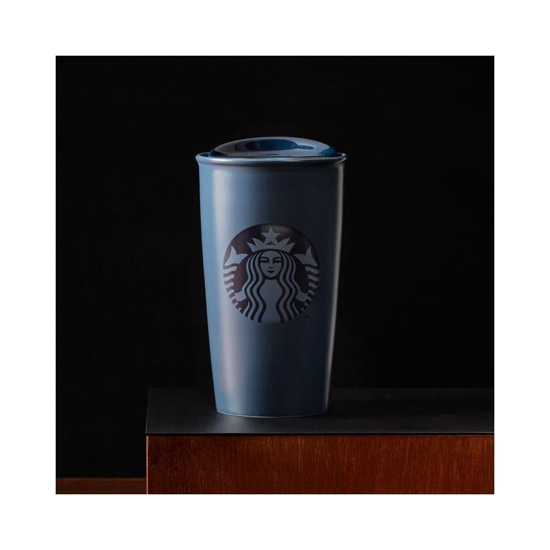Starbucks 2015 Navy Blue Ceramic Double Wall Traveler Tumbler 12 Fl Oz