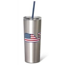 Vineyard Vines Flag Whale Silver Stainless Steel  Portable Lidded Drinkware Tumbler