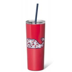 Vineyard Vines Hibiscus Whale Red Stainless Steel  Portable Lidded Drinkware Tumbler