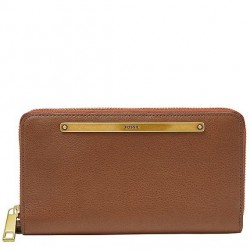 Fossil Liza Brown Leather Zip Around Clutch Wallet