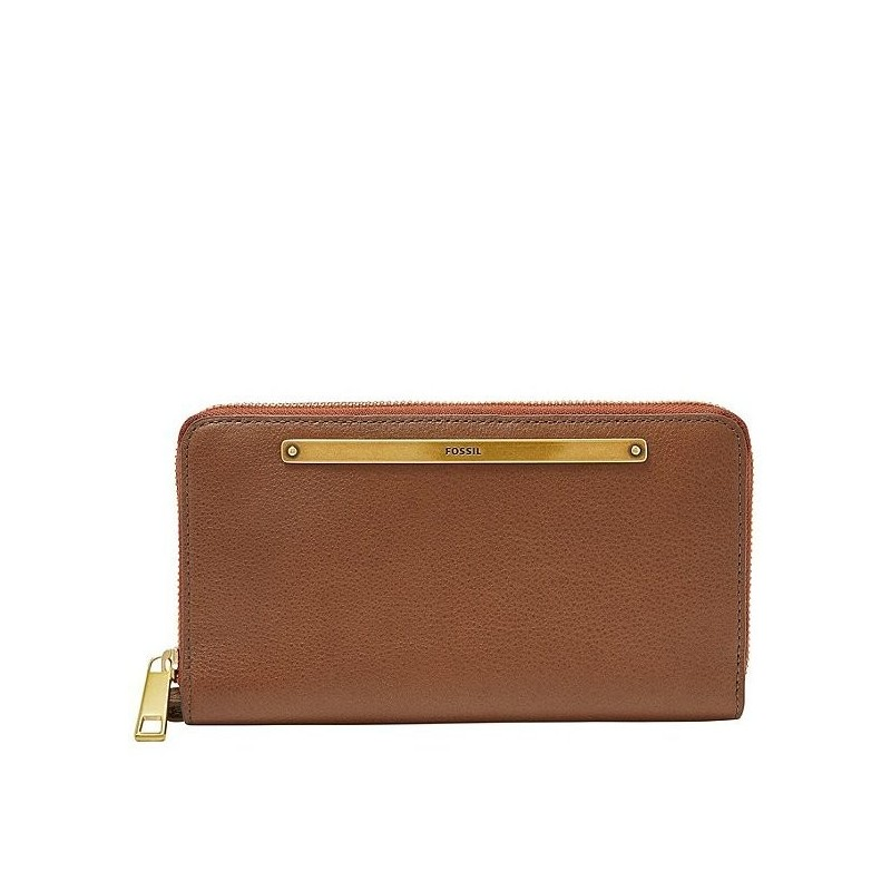 Fossil Liza Brown Leather Zip Around Clutch Wallet