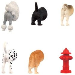 Kikkerland Dog Butt Animal Fridge Magnets - Set of 6