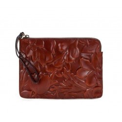 Patricia Nash Iron Red Cassini Spring Leather Wristlet