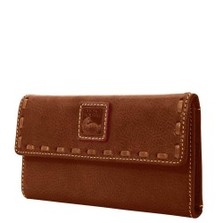 Dooney & Bourke Florentine Continental Leather Trifold Clutch Wallet - Chestnut