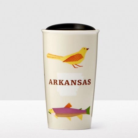 Starbucks Arkansas Bird Fish Double Wall Ceramic Traveler Tumbler 12 Fl Oz