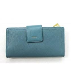 Fossil Women Logan RFID Caribbean Blue Tab Clutch Wallet