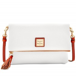 Dooney & Bourke Pebble Leather Grain Foldover White Zip Crossbody Clutch Bug