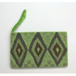 Handmade Green Beaded Clutch Purse Wristlet with Strap