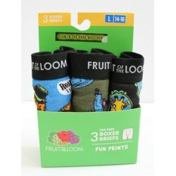 Fruit of the Loom Boys 3-Pack Fun Animal Prints Tag Free Boxer Briefs Size L