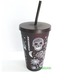 Starbucks Halloween 2019 Matte Black Spooky Skull Acrylic Cup Tumbler 16 Fl Oz