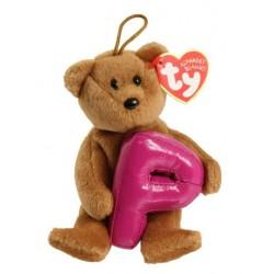 """TY Alphabet P Beanie Baby Bear 5.5"""""""