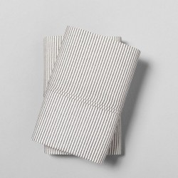 Hearth & Hand Magnolia Organic Microstripe Railroad  Sandard Gray Pillowcase Set of 2