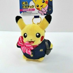 Pokemon Center Japan Kansai Airport Pikachu Flight Attendant Plush Keychain