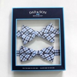 Dad and Son Blue White Seersucker Tattersal Bow Tie Matching Set