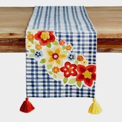 Pier 1 Imports Gingham Floral Appliqué Tassel Table Runner