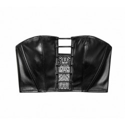 Victoria's Secret Very Sexy Faux Leather Malibu Black Bustier Size L