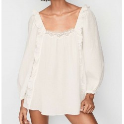 Victoria's Secret White Floral Cotton Lace Trim Ruffle Semi Sheer Size XS