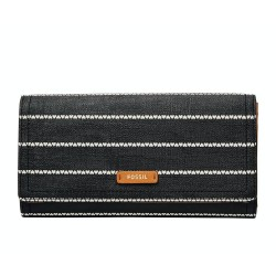 Fossil Logan Black White RFID Flap Cutch Wallet