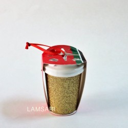 Starbucks Gold Glitter Ceramic Christmas Holiday Ornament