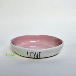 Rae Dunn Magenta LOVE Ceramic Dish