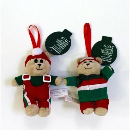 Starbucks Holiday 2018 Bear Bearista Christmas Plush Ornament Set of Boy and Girl