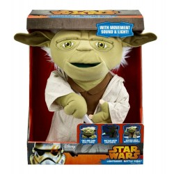 Star Wars  Lightsaber Battle 16-Inch Yoda Action Plush with Movement, Sound, and Light