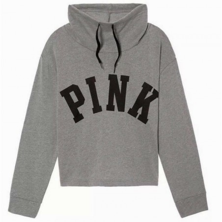 Victoria's Secret PINK Cowl Neck Cropped Gray Pullover Sweatshirt Size L