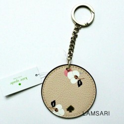 Kate Spade New York Round Leather Floral Bag Charm Keychain Fob