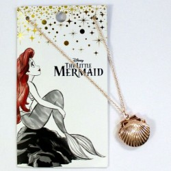 Disney the Little Mermaid Ariel Seashell Rose Gold Locket Necklace