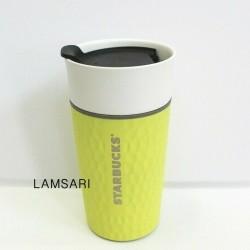 Starbucks 2016 Ceramic and Stainless Steel Dimpled Yellow Citron Traveler Tumbler
