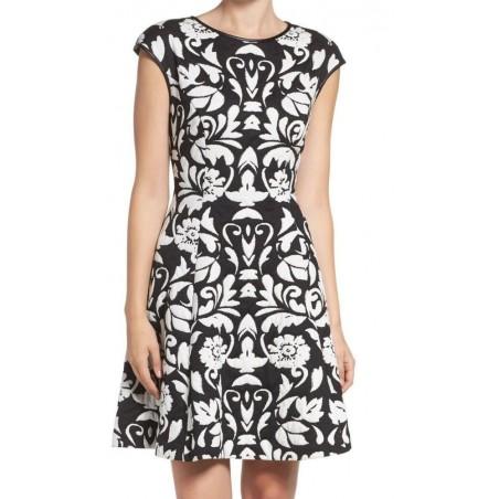 Vince Camuto Floral Faux-Leather Trim Fit & Flare Blister Knit Dress 4 Petite
