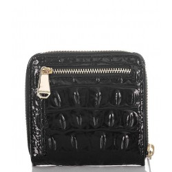 Brahmin Melbourne Collection Crocodile Embossed Black Mini Suri Leather Wallet
