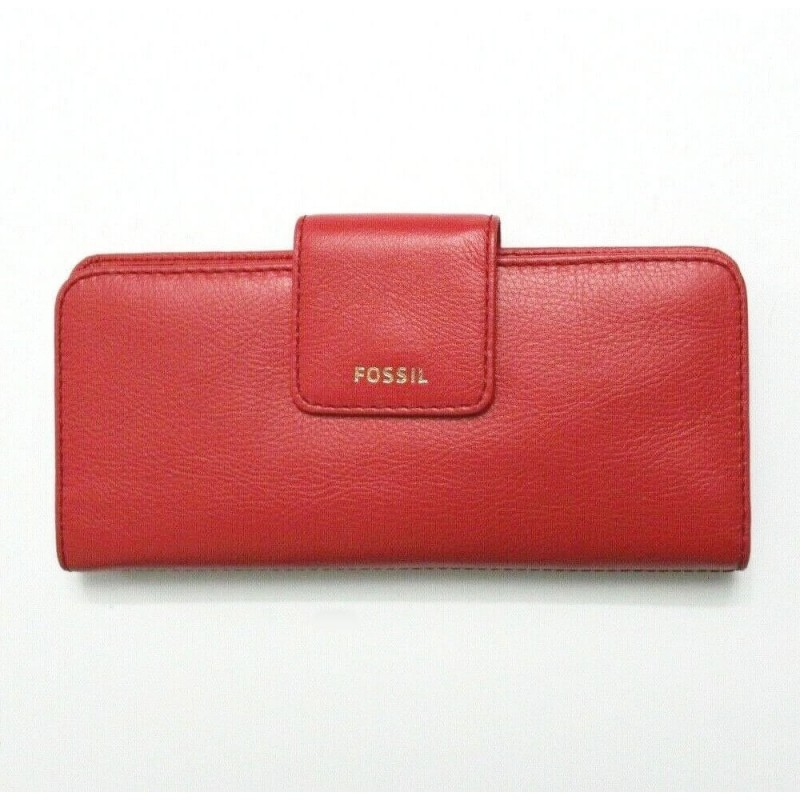 Fossil Women Red Madison Bifold Leather Clutch Wallet