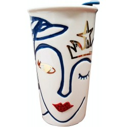 Starbucks 2016 Crowned Siren Anniversary Collection Crystal Lips Ceramic Traveler 10 Fl Oz