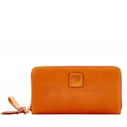 Dooney & Bourke Florentine Leather Large Zip Around Natural Wristlet Clutch Wallet