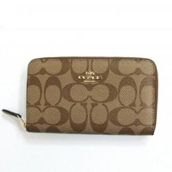 Coach Signature Canvas Medium Zip Around Wallet - Khakie/Saddle
